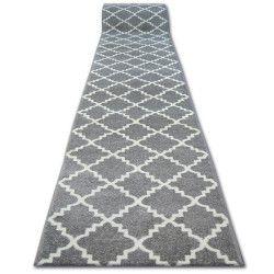 Chodnik SKETCH F343 szaro/biała koniczyna marokańska trellis